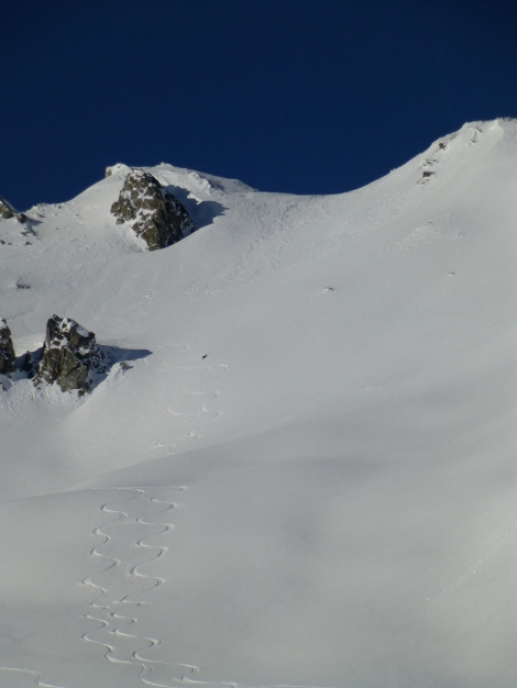 The first descent on the day