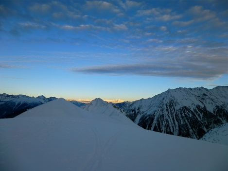 Sunset on Swiss Alps from Tete de Balme on an evening ski tour a few weeks back.