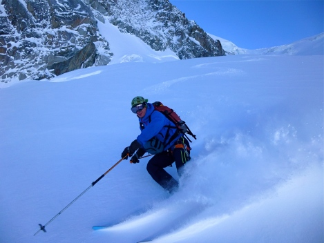 Glacier off-piste from the Aiguille du Midi