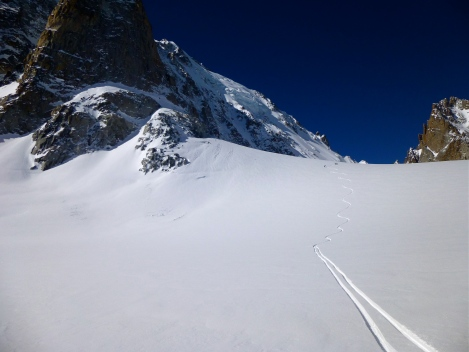 Skiing down into Switzerland to get a taxi to Verbier