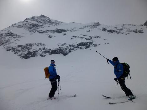 Off-piste day in Verbier, below the face we just skied in great snow.