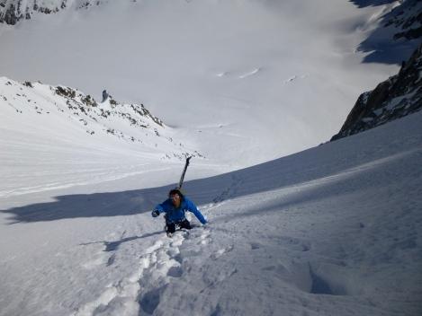 Tomas climbing up to the Col des Cristaux above the Argentiere glacier.