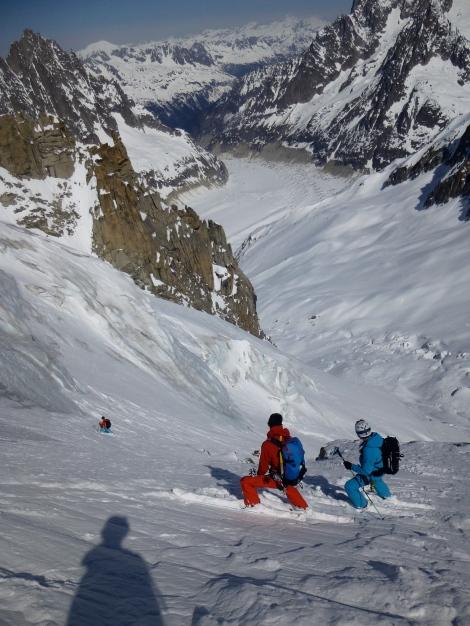 skiing the Glacier de la Noire with the Glacier de Periades and Mer de Glace below.