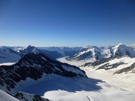 The view down the Aletschgletscher from the top of the Monch