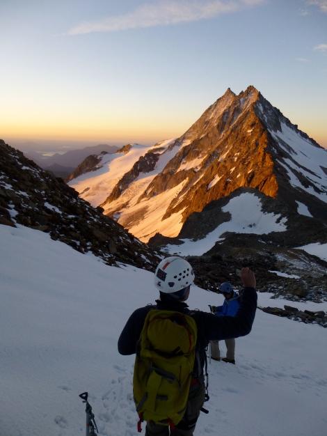 sunrise above the Allmageller Hut, nearing the start of the climbing