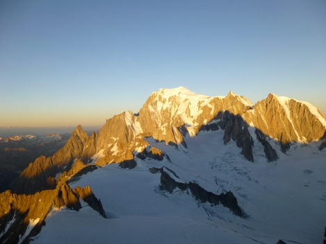 morning light on the Chamonix granite from the Noire de Peuterey to the Mont Blanc du Tacul