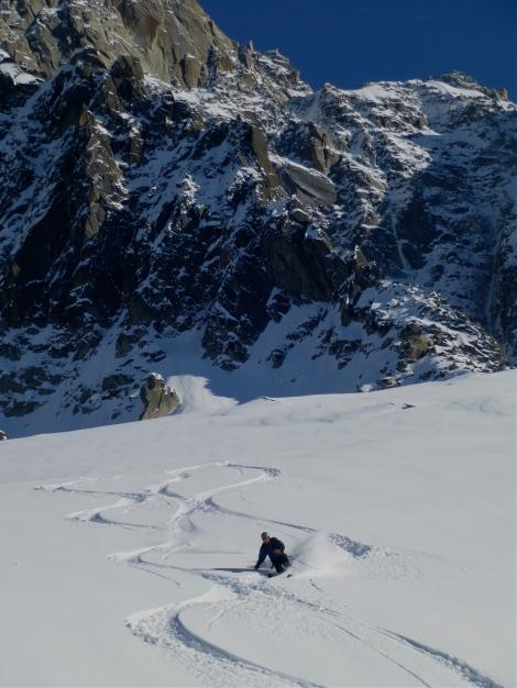 Skiing below Les Aiguilles de Chamonix
