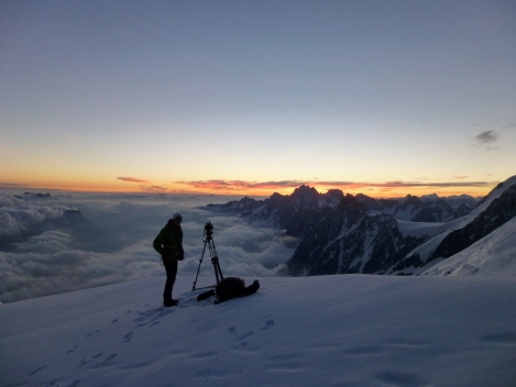some are up early for the sunrise shot over the Mont Blanc range