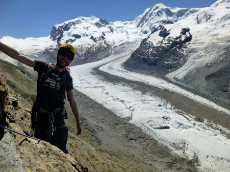 Climbing on the Rifflehorn, acclimatizing for the Dufourspitze in the background