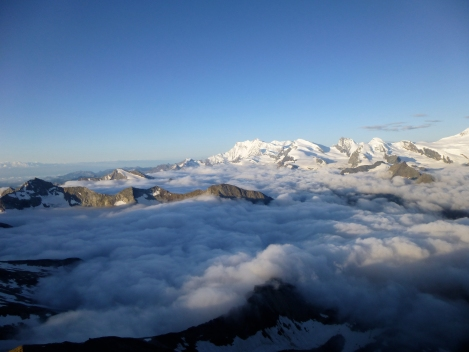 morning views on the traverse of the Weissmies