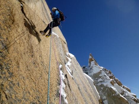 abseiling down to climb up to the Aiguille du midi again...