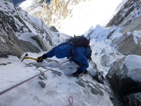 Laurie exiting the crux pitch