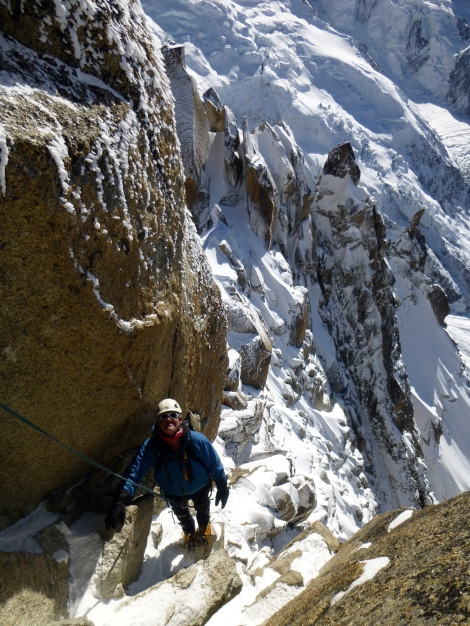 enjoying the last pitches up the Arete des Cosmiques