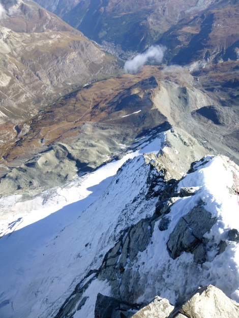 ...the view down the Hornli ridge with Zermatt below and the north face to the left.